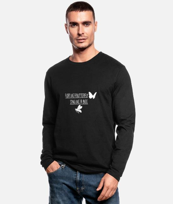 Fighter Long-Sleeved Shirts - Float like a butterfly sting like a bee - Men's Longsleeve Shirt black
