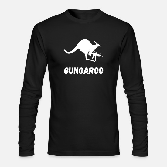 Funny Long-Sleeve Shirts - Funny Gun Kangaroo Australia Safari Gifts - Men's Longsleeve Shirt black