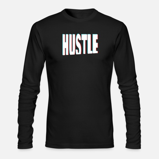 Startup Long-Sleeve Shirts - Hustle 3D Anaglyph Startup Founder & Entrepreneur - Men's Longsleeve Shirt black