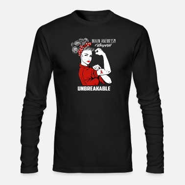 Brain Brain Aneurysm Warrior Unbreakable Awareness - Men's Long Sleeve T-Shirt by Next Level