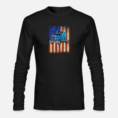 Truck Driver American Flag Proud Trucker graphic - Men's Longsleeve Shirt