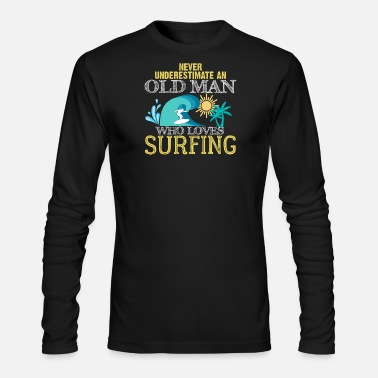 Man Surfing Cool Old Man - Men's Longsleeve Shirt