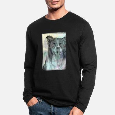 Cute Border Collie Vintage Style - Men's Longsleeve Shirt