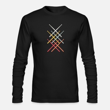 Percussion Drumsticks - Vintage Drummer Gift - Men's Long Sleeve T-Shirt by Next Level