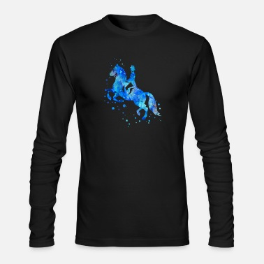Horse Riding Horse riding, watercolor sport - Men's Long Sleeve T-Shirt by Next Level