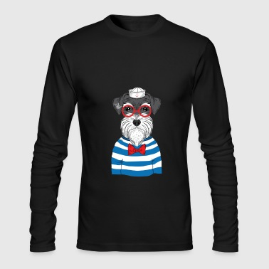 Little dog in sailor and red sunglasses - Men's Long Sleeve T-Shirt by Next Level