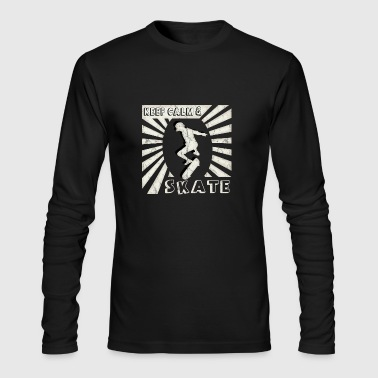 skater skating skateboard oldschool keep calm gift - Men's Long Sleeve T-Shirt by Next Level