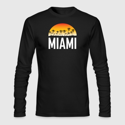 Miami Florida Sunset And Palm Trees Beach - Men's Long Sleeve T-Shirt by Next Level