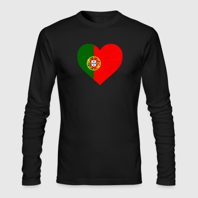 Portugal Flag Shirt Heart - Portuguese Shirt - Men's Long Sleeve T-Shirt by Next Level