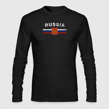 Russian Flag Shirt - Russian Emblem & Russia Flag - Men's Long Sleeve T-Shirt by Next Level