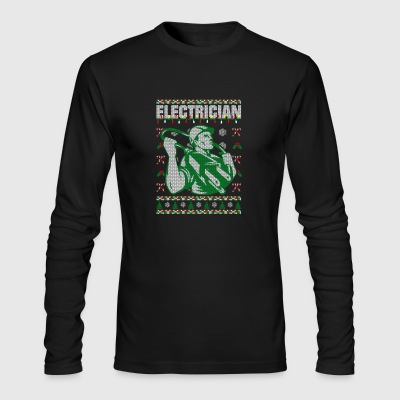 Electrician Christmas Ugly Sweater - Men's Long Sleeve T-Shirt by Next Level