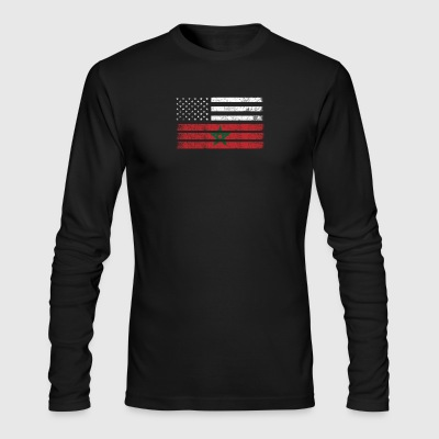 Moroccan American Flag - USA Morocco Shirt - Men's Long Sleeve T-Shirt by Next Level