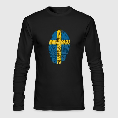 Sweden Swedish Identity Born in Fingerprint Gift - Men's Long Sleeve T-Shirt by Next Level
