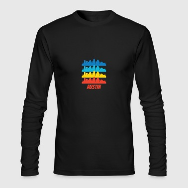 Retro Austin TX Skyline Pop Art - Men's Long Sleeve T-Shirt by Next Level