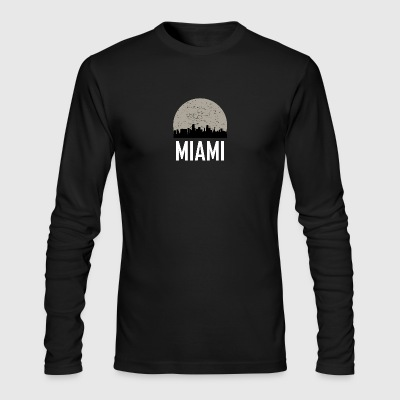 Miami Full Moon Skyline - Men's Long Sleeve T-Shirt by Next Level