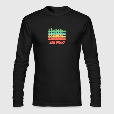 Retro San Diego CA Skyline Pop Art - Men's Long Sleeve T-Shirt by Next Level