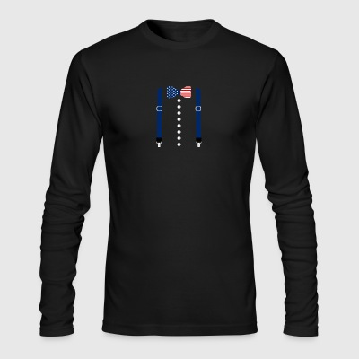 Suspenders USA Flag Tuxedo Funny Patriotic Costume - Men's Long Sleeve T-Shirt by Next Level