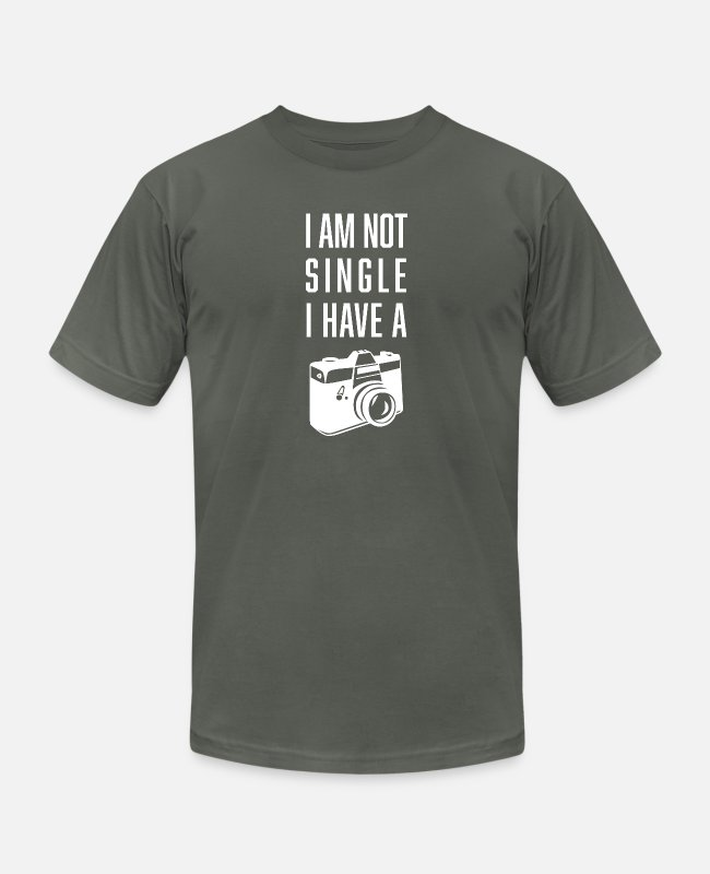 Quote T-Shirts - I'm not single i have a camera - Unisex Jersey T-Shirt asphalt