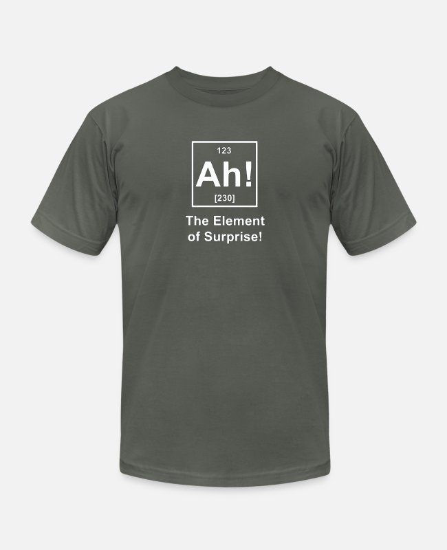 Periodic Table T-Shirts - Ah! The Element of Surprise - Unisex Jersey T-Shirt asphalt