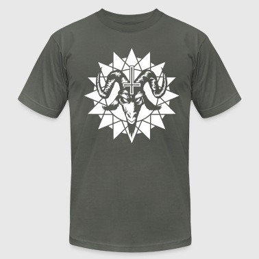 Satanic Goat Head with Chaos Star (inverted) - Men's Fine Jersey T-Shirt