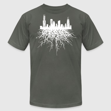 Chicago Roots Chicago Skyline Silhouette Rooted - Men's Fine Jersey T-Shirt