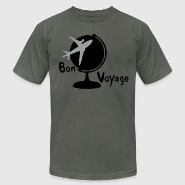 Bon voyage airplane & earth globe-3 - Men's Fine Jersey T-Shirt