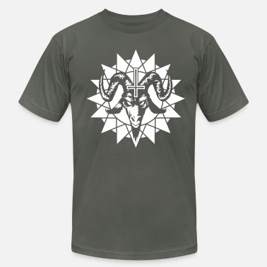 Antichrist Satanic Goat Head with Chaos Star (inverted) - Men's  Jersey T-Shirt
