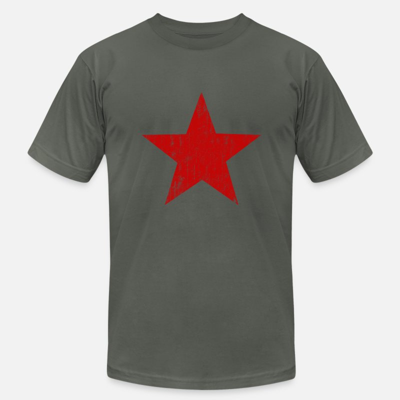 American T-Shirts - Red Star faded  - Men's Jersey T-Shirt asphalt