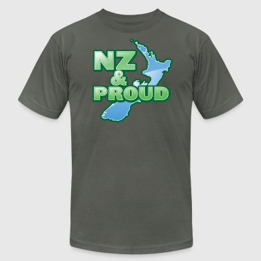 NZ New Zealand and proud with kiwi map - Men's Fine Jersey T-Shirt