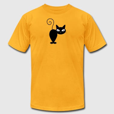 BLACK_CAT_FROM_BACK - Men's T-Shirt by American Apparel
