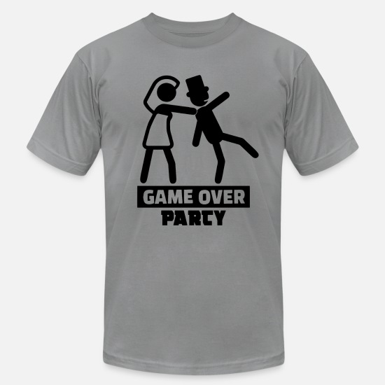 Game Over T-Shirts - Game Over Bachelor Party Wedding Shower Marriage - Unisex Jersey T-Shirt slate