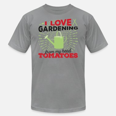I Love Gardening From My Head Tomatoes I love gardening from my head tomatoes (dark) - Men's  Jersey T-Shirt