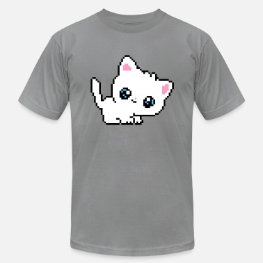Pixelated Cats White Pixel Cat - Men's  Jersey T-Shirt