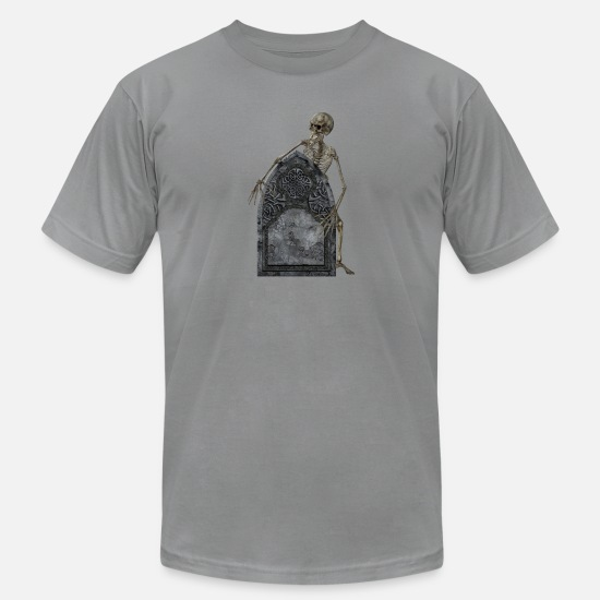 Skeleton T-Shirts - SKELETON WITH TOMBSTONE - Men's Jersey T-Shirt slate