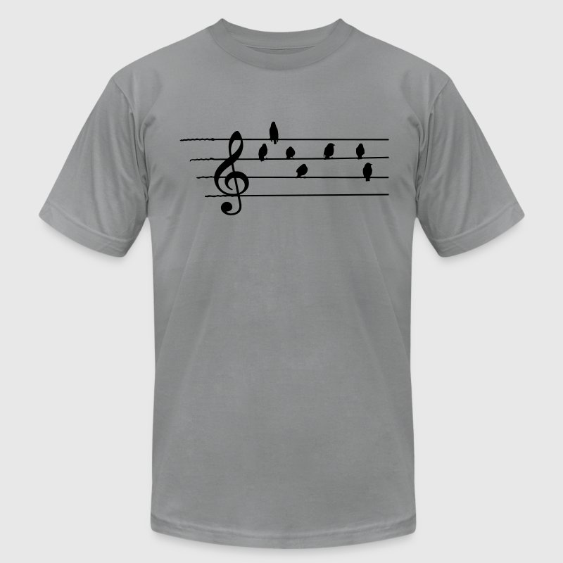 Music - Treble Clef - birds as notes - Men's Fine Jersey T-Shirt