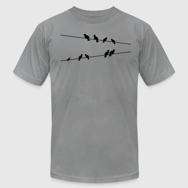 Birds on electric wires - Men's Fine Jersey T-Shirt