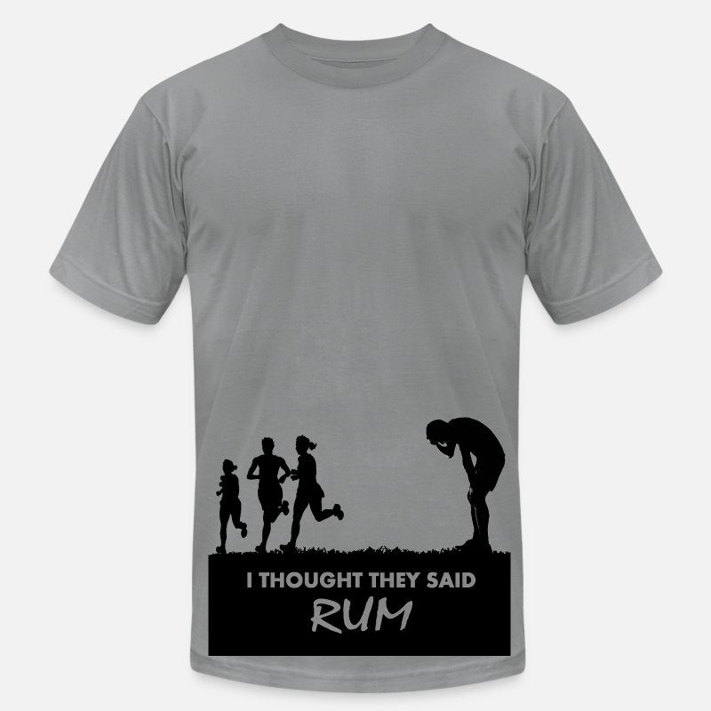 Funny T-Shirts - I thought they said rum - Men's Jersey T-Shirt slate