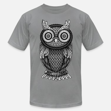 Black And White Owl ornamental Owl Design black and white - Men's  Jersey T-Shirt