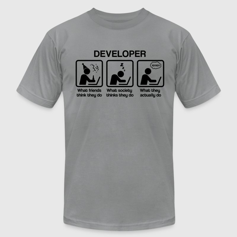 developer - What do you think they do? - Men's Fine Jersey T-Shirt