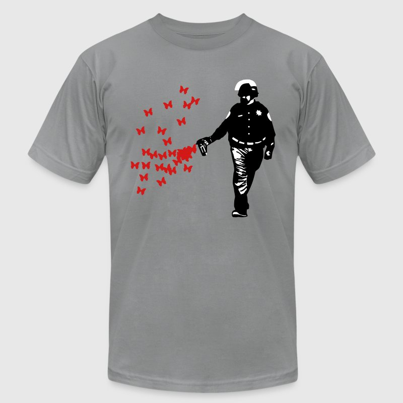 Police - Street Art Pepper Spray Cop Butterfly - Men's Fine Jersey T-Shirt
