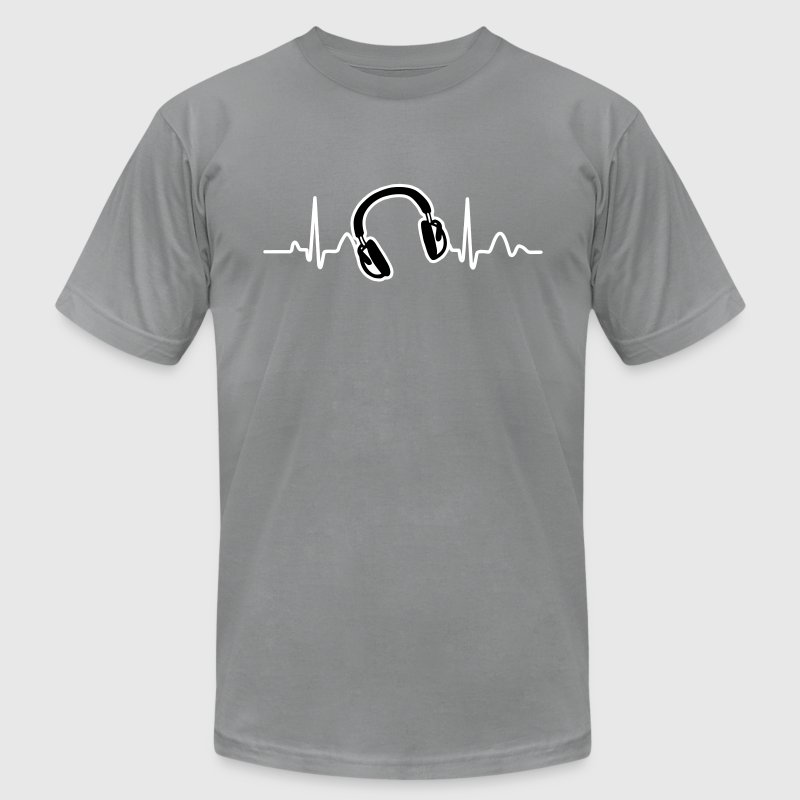 Lines of Heart, Heart Pulz line electrocardiogram with headphones headphones - Men's Fine Jersey T-Shirt