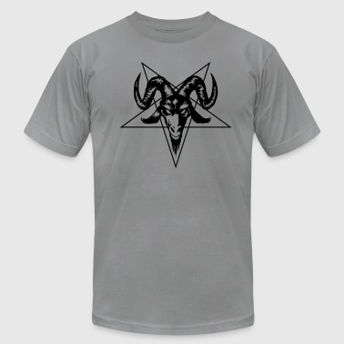 Lucifer Ram Goat Head with Pentagram - Men's Fine Jersey T-Shirt