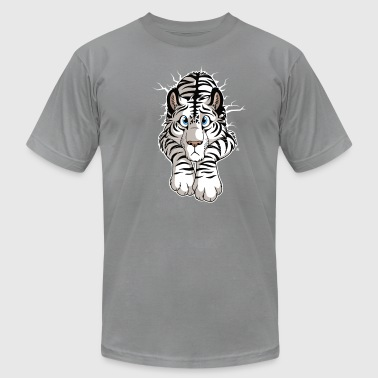 Furry Wall STUCK White Tiger - Men's Fine Jersey T-Shirt