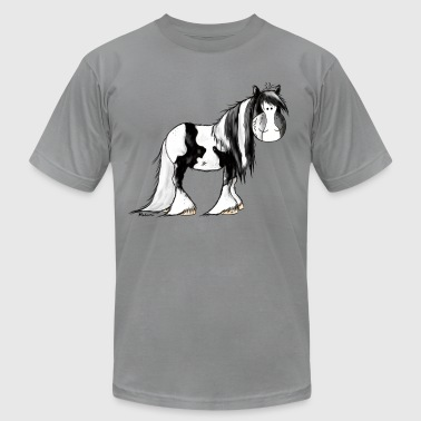 Cartoon Irish Cob Gypsy Cob - Irish Cob - Pinto – Horse - Men's Fine Jersey T-Shirt