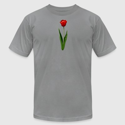 Red Tulip Illustration - Men's T-Shirt by American Apparel