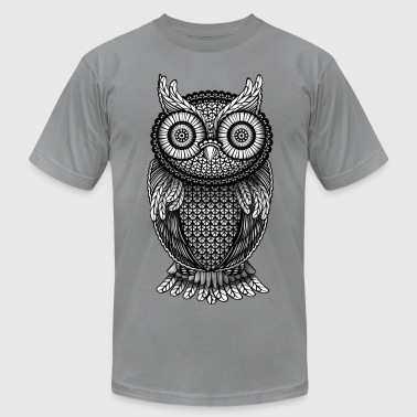 ornamental Owl Design black and white - Men's Fine Jersey T-Shirt