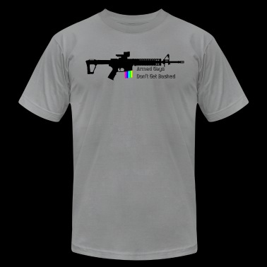 Armed Gays Don't Get Bashed - AR / Horizontal - Men's Fine Jersey T-Shirt