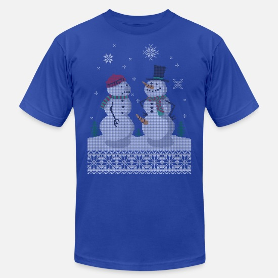 Christmas T-Shirts - UGLY HOLIDAY SWEATER HAPPY SNOWMAN CARROT THIEF - Unisex Jersey T-Shirt royal blue