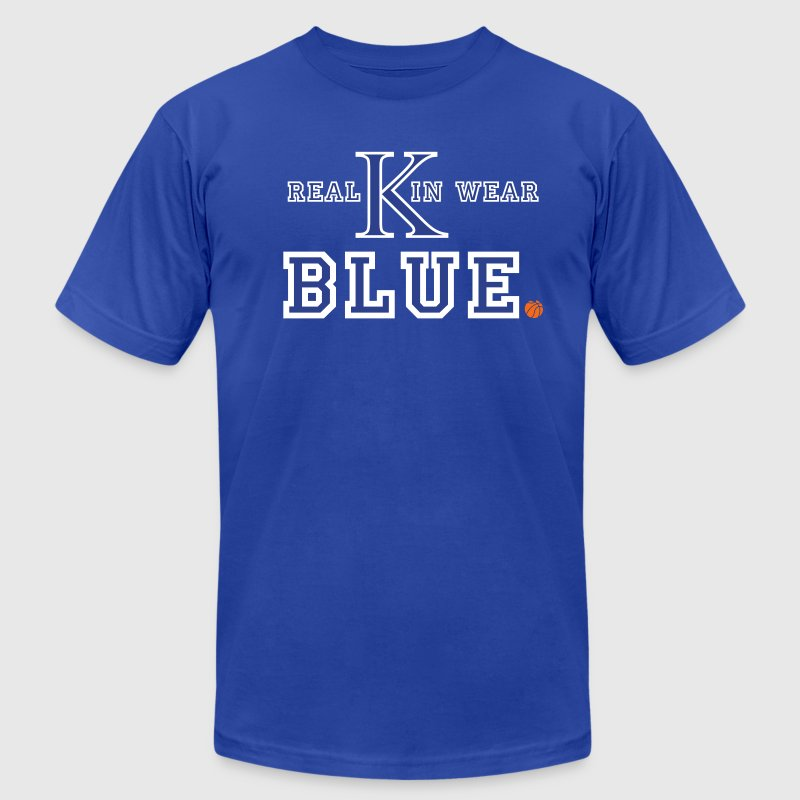 UK Wildcats Basketball - Real Kin Wear Blue - Men's Fine Jersey T-Shirt