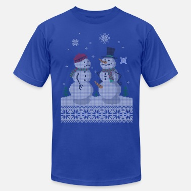 Ugly UGLY HOLIDAY SWEATER HAPPY SNOWMAN CARROT THIEF - Men's Fine Jersey T-Shirt